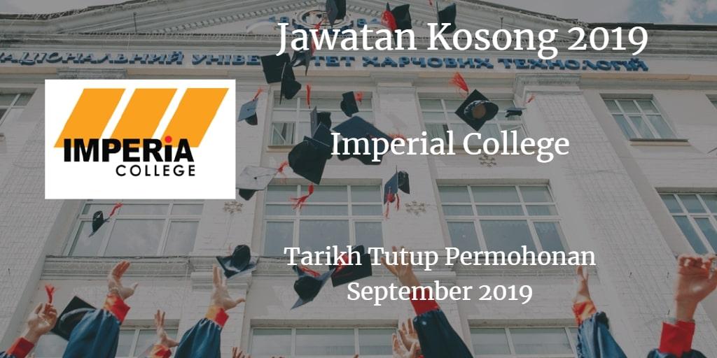 Jawatan kosong Imperial College September 2019