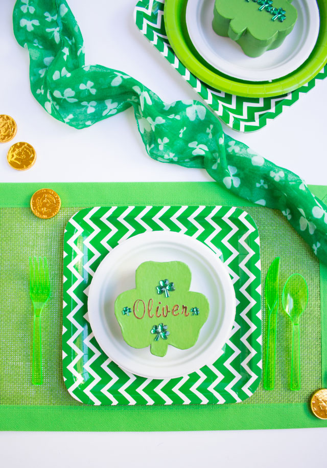 Personalize shamrock paper mache boxes and fill them with gold coins for sweet St Patricks Day party favors!