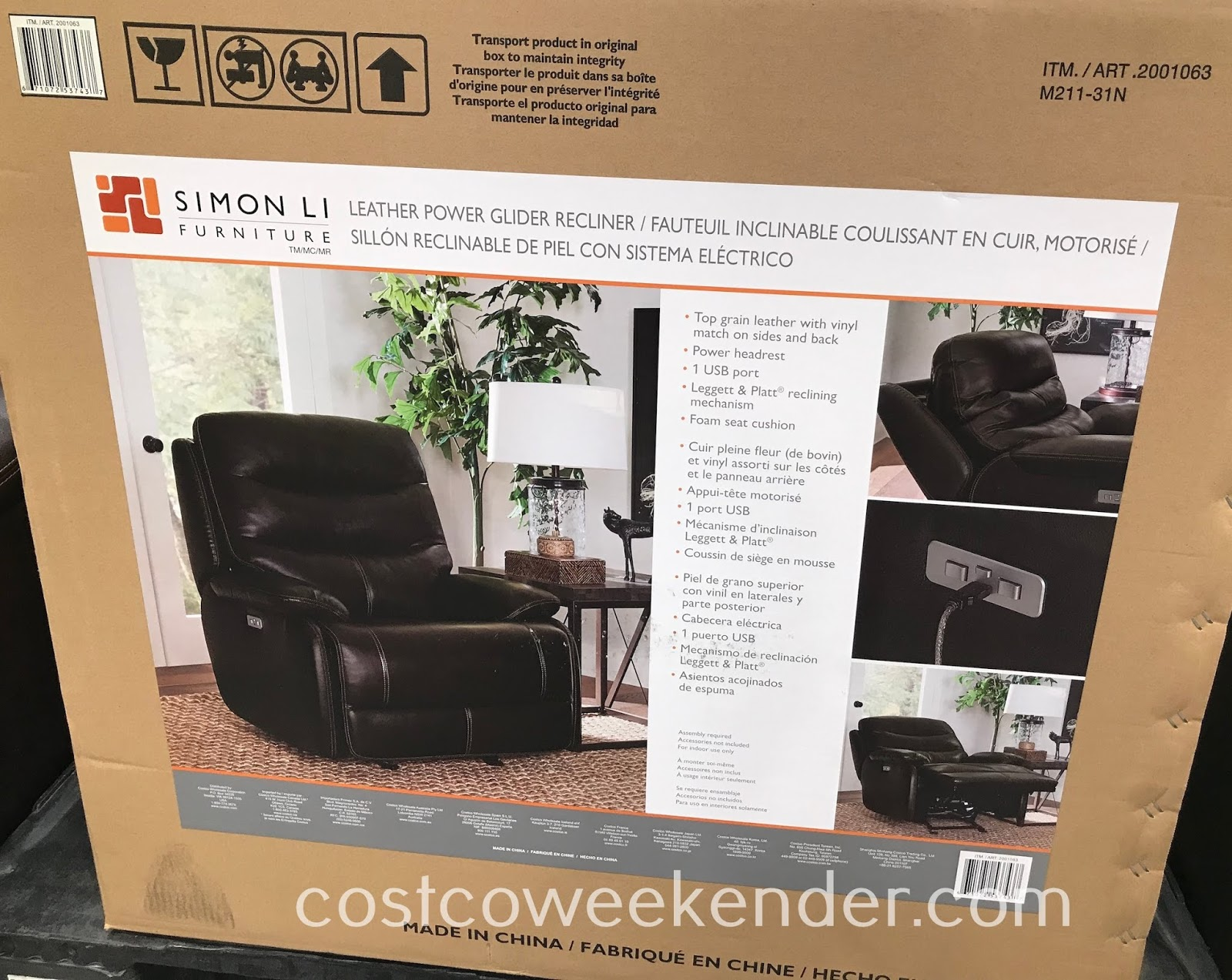 Costco 2001063 - Simon Li Leather Power Glider Recliner: your