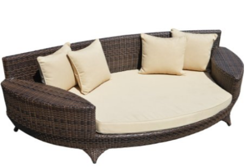 Love Sofa / Day Bed Brown All Weather Synthetic Outdoor Rattan Garden Furniture Lounger, Outdoor Furniture, Curved Patio Furniture, Modern Curved Sectionals, Curved Sectional, Curved Patio Furniture,