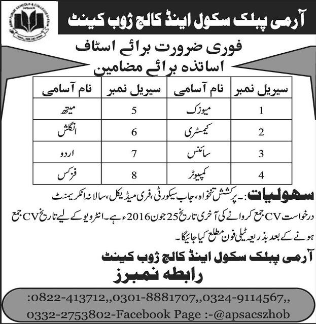 Teachers jobs, Army public school jobs, Baluchistan, Jobs in baluchistan, Computer Science, GOVT JOBS, 2016, jobs in army public school zhob, zhob,