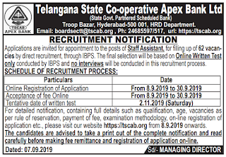 DCCB Staff Assistant Jobs in TSCAB Telangana State Cooperative Apex Bank Recruitment Exam Notification 2019 62 Govt Jobs Online