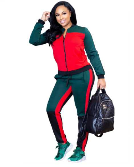 Women fashion sexy tracksuit long sleeve patchwork Sporting jacket pant clothes