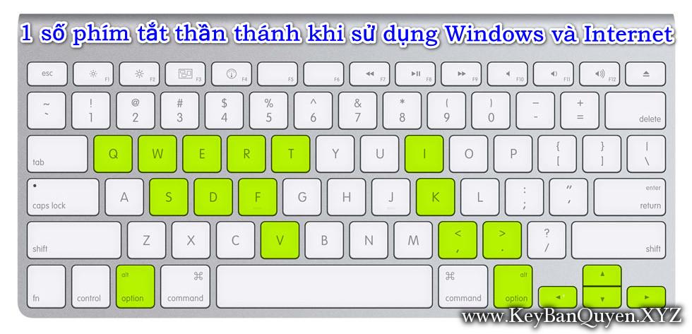 1 số phím tắt thần thánh khi sử dụng Windows và Internet