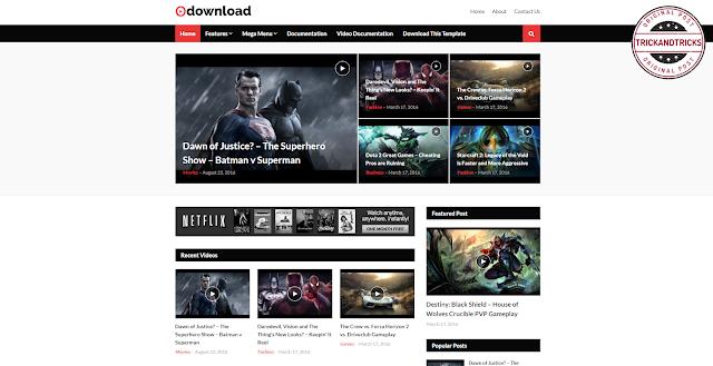 Video Download Premium Blogger Template 2020
