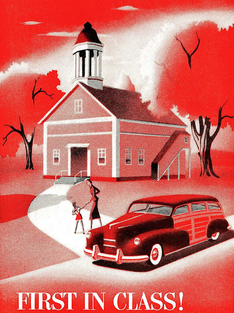 1940s car illustration in red with schoolhouse
