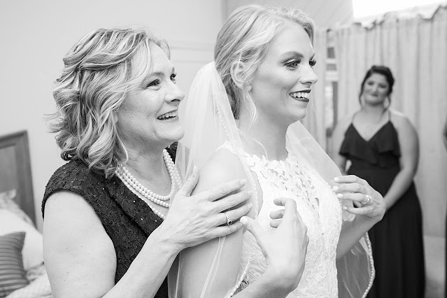 B&W portrait of other and Bride after Bride is fully ready Magnolia Farm Asheville Wedding Photography captured by Houghton Photography
