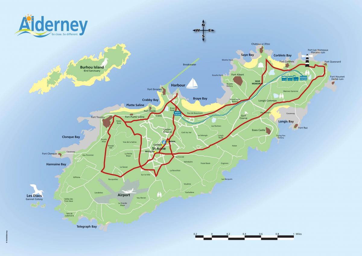 Mapas da Ilha Alderney | Reino Unido