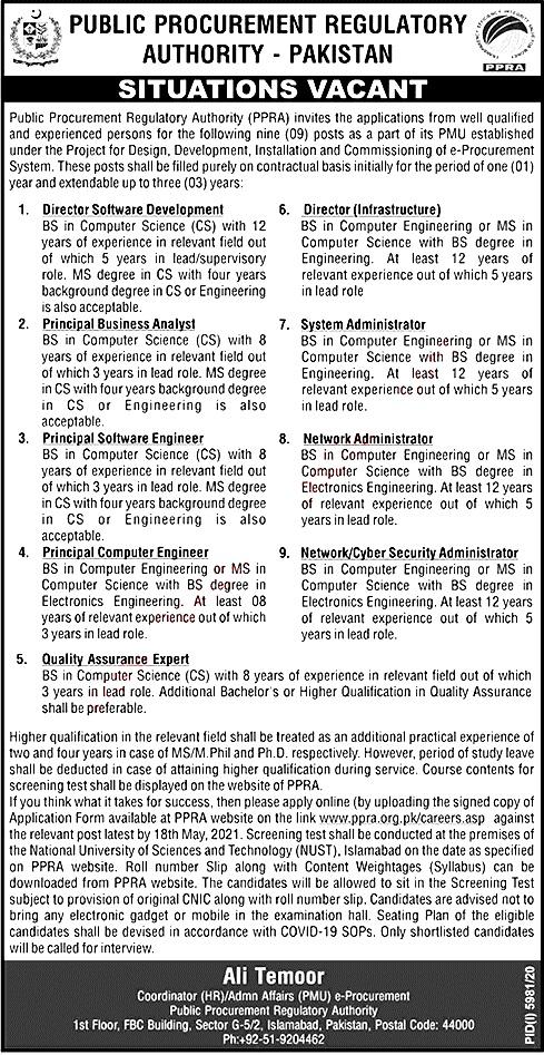 New Jobs in Public Procurement Regulatory Authority PPRA 2021