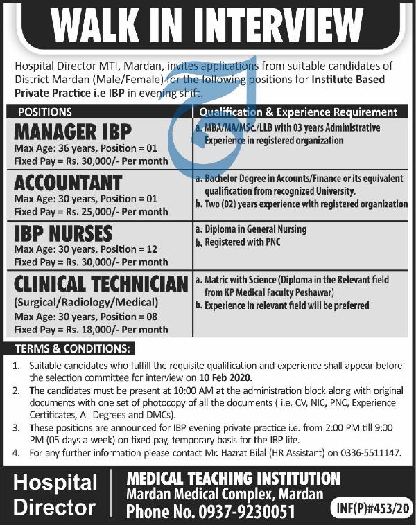 Jobs in Medical Teaching Institution MTI Mardan Latest 2020