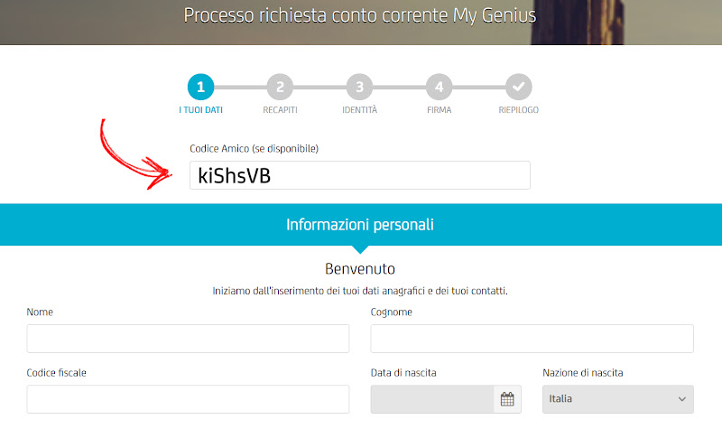 Unicredit: Conto gratis + 180€ di bonus + 75€ per ogni amico invitato Scree-inserimento-codice2-terzo