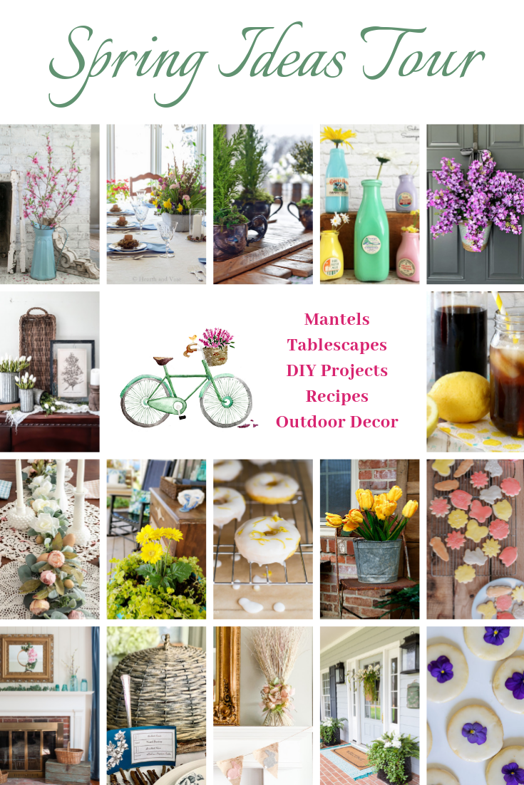 spring ideas tour graphic with many pictures of spring decor