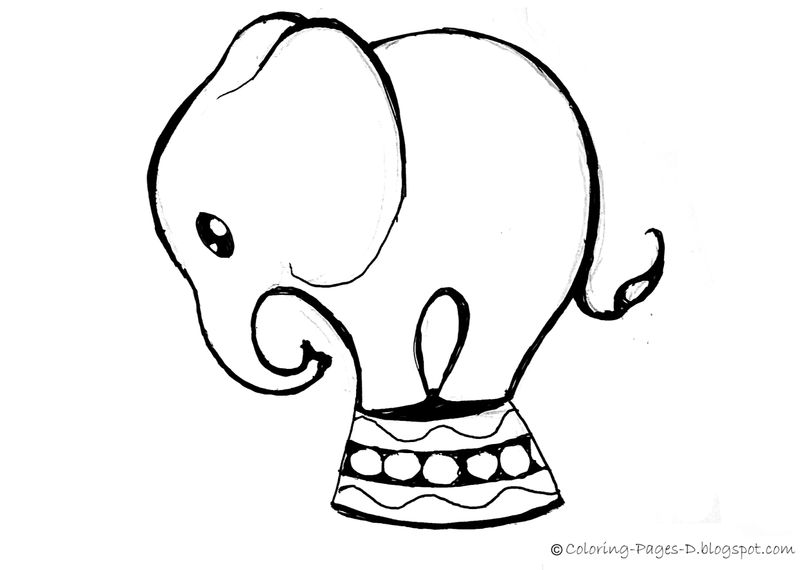 Baby Elephant Line Drawing