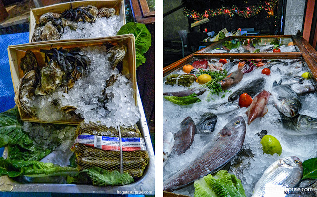 Banca de frutos do mar em Taormina, Sicília