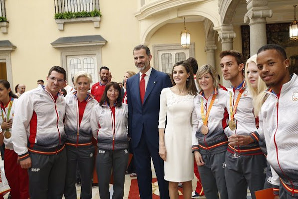 Rio 2016 Olympic and Paralympic medalists at El Pardo Palace, Letizia wore Felipe Varela Dress