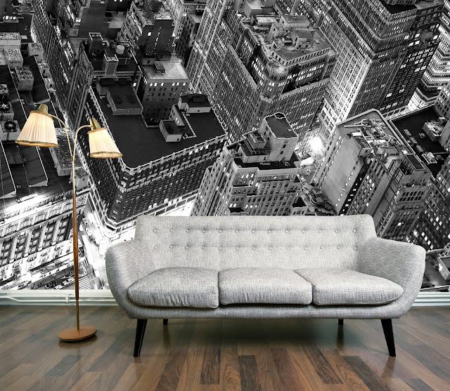 Fototapet New York svart vit