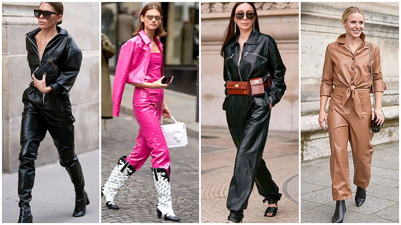 Faux Leather Jumpsuits And Boilersuits