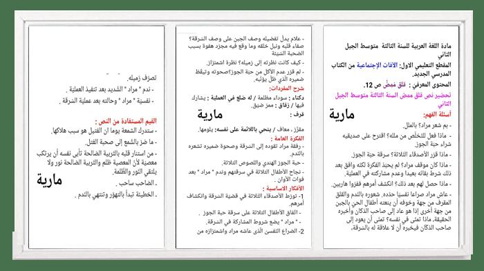 الدرس الثاني في اللغة العربية - قلق ممض - للسنة الثالثة متوسط