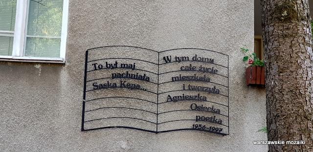 Warszawa Warsaw Saska Kępa Praga Południe ulice Saskiej Kępy modernizm funkcjonalizm architektura Agnieszka Osiecka