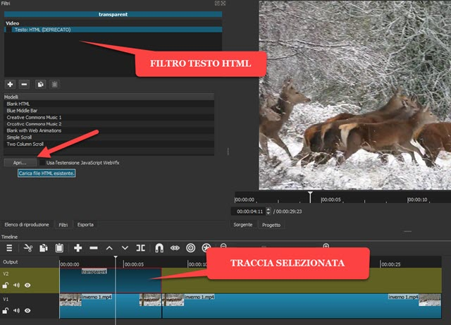filtro testo html shotcut