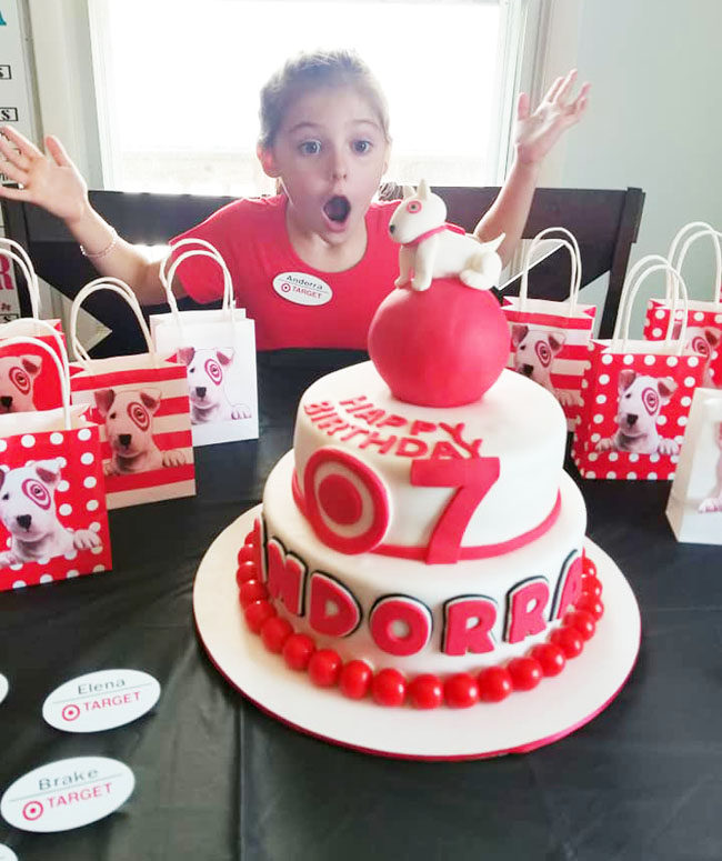 Target-themed birthday cake