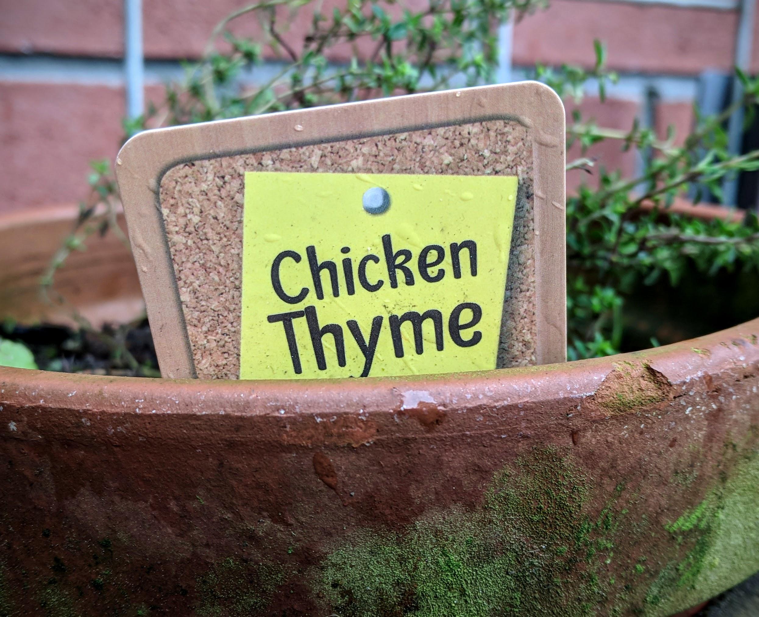 Chicken thyme label
