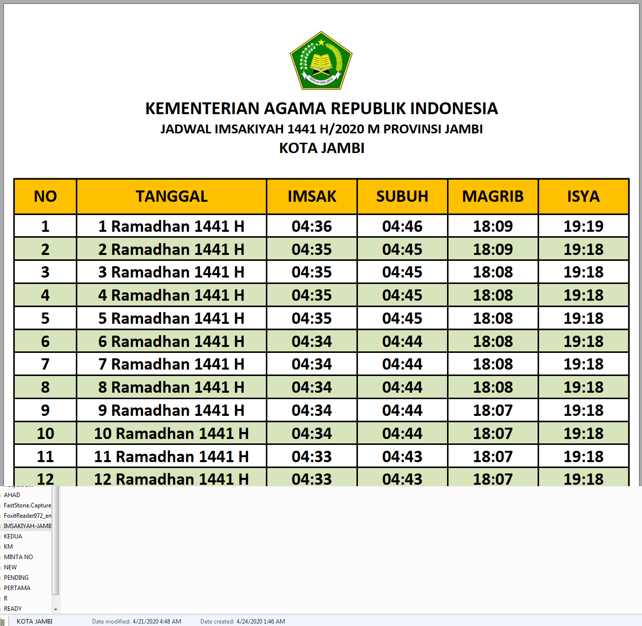 Jadwal Imsakiyah Jambi 2020