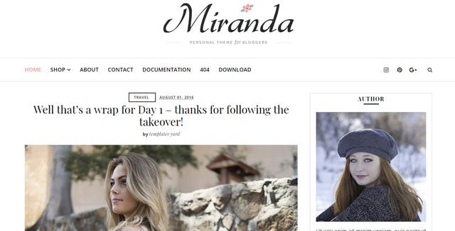 Miranda Minimal Responsive Blogger Templates