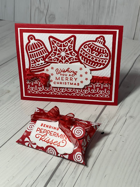 Christmas Pillowbox with Real Red Sheer Ribbon matches a Christmas Card using Stampin' Up! Frosted Gingerbread Stamp Set i