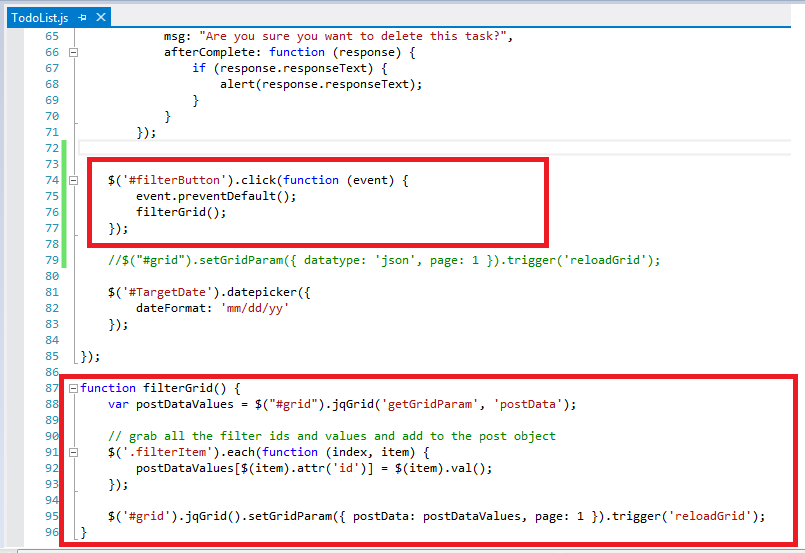 Section 3: JQGrid and MVC Demo with Custom Filters or Search