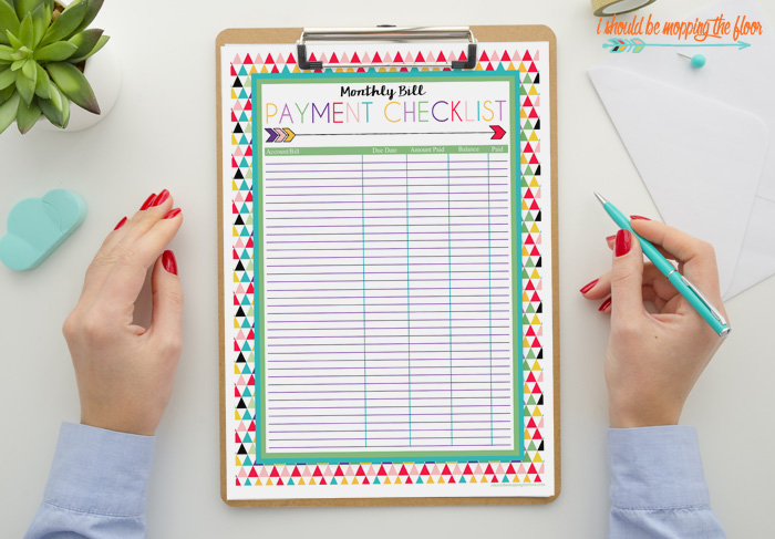 Free Monthly Bill Pay Checklist Printables
