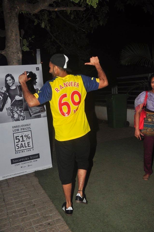 Ranveer Singh Snapped In Personalized Arsenal Soccer Jersey at PVR Juhu