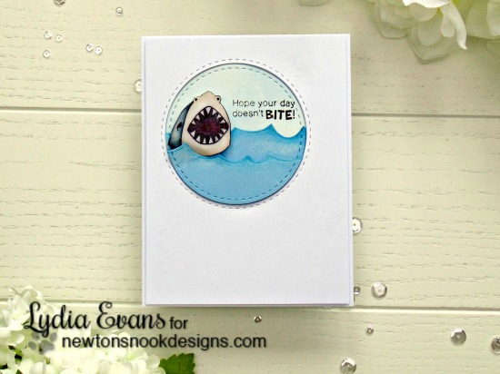 Shark Week Day 4 - Shark Card by Lydia Evans | Shark Bites Stamp set and Die Set by Newton's Nook Designs #newtonsnook #sharkweek