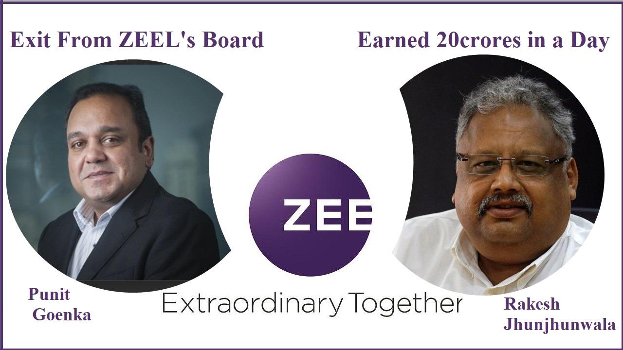 Zee share price Punit goenka with Rakesh jhunjhunwala