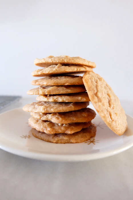 stack of cinnamon peanut butter cookies on a palte