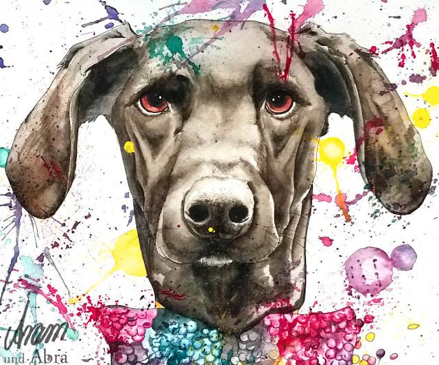 Luke, Aquarell und Tusche auf Papier, Ref.: Lizbeth Hundefotografie