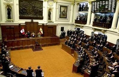 Interior del Congreso de la República del Perú en pleno debate