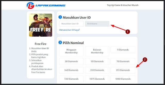 masukkan user id dan jumlah top up