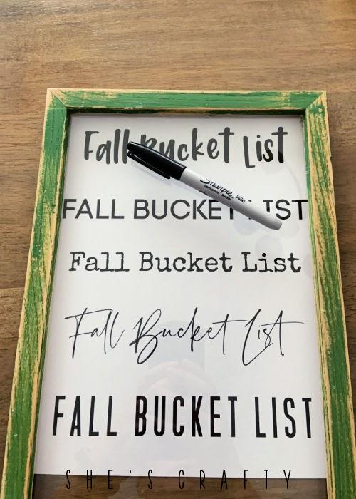 Dry Erase Fall Bucket List