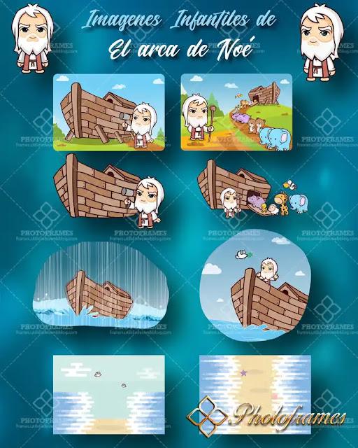 Imágenes infantiles de la historia de El Arca De Noé