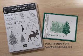Card with a misty forest scene made with Stampin'UP's Merry Moose stamp set and art sponges