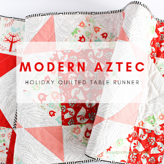Modern Aztec Holiday Quilted Table Runner | Shannon Fraser Designs