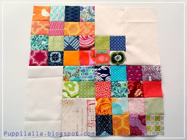Quilting Bee, Bee Block, Scrap busting, Scrappy Block, modern scrap quilt, Puppilalla, Post Stamp Quilt