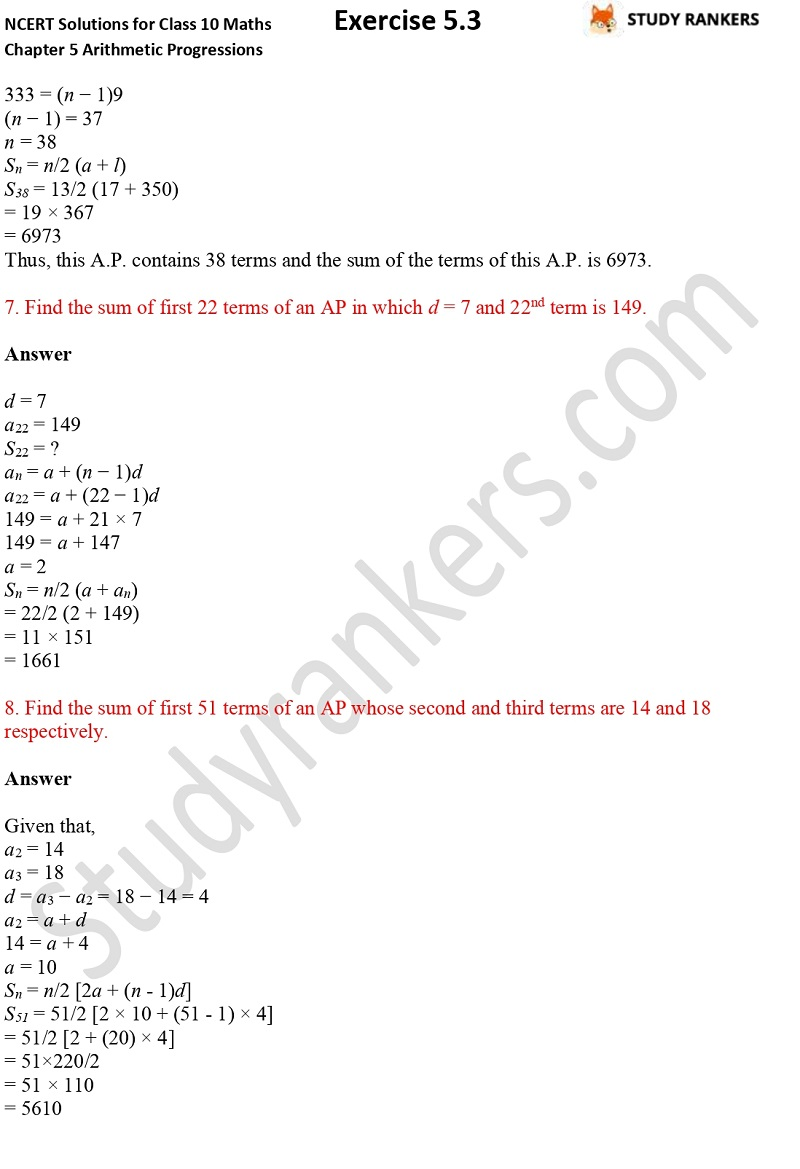 NCERT Solutions for Class 10 Maths Chapter 5 Arithmetic Progressions Exercise 5.3 Part 1 Part 8