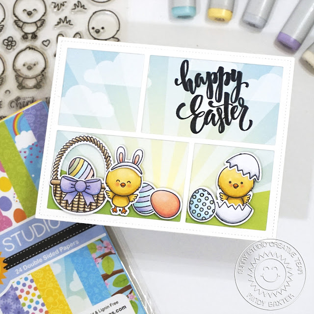 Sunny Studio Stamps: Chickie Baby Comic Strip Speech Bubble Dies Easter Card by Mindy Baxter