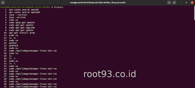 Menampilkan dan menghapus histry terminal linux ubuntu