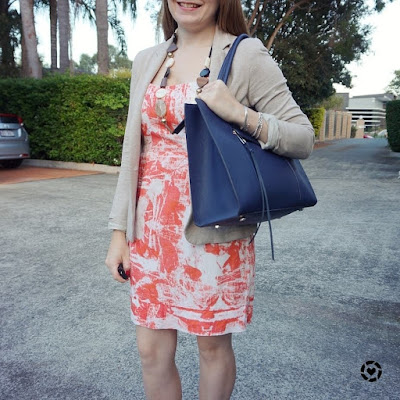 awayfromblue instagram orange sheath dress, navy rebecca Minkoff MAB Tote bag, blazer for work