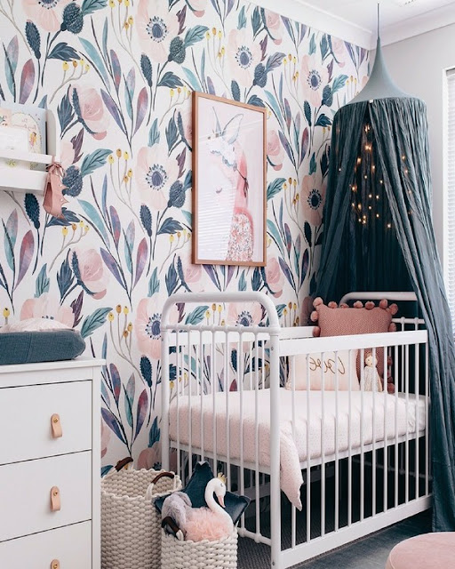 baby girl nursery wallpaper Australia