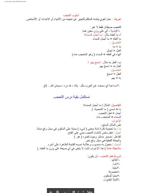 ملخص وشرح القواعد في اللغة العربية للصف الثاني عشر الفصل الاول