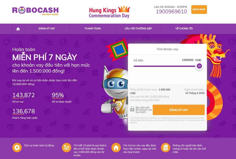 Robocash – Vay online 0% lãi suất chỉ với CMND, duyệt vay tự động